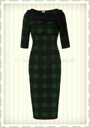 Banned 50er Jahre Retro Tartan Pencil Kleid - Take Me To Paris - Navy Grün