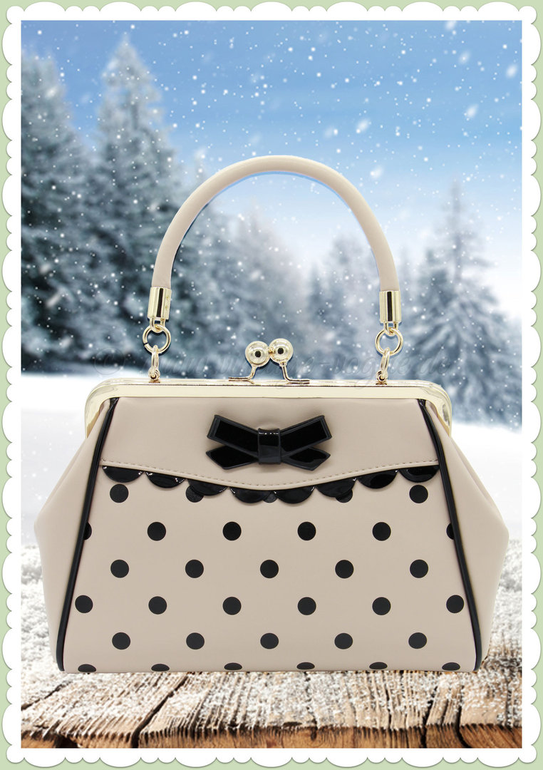 Banned 50er Jahre Retro Punkte Handtasche - Crazy Little Thing Bag - Creme