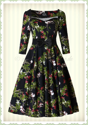 Hearts & Roses 50er Jahre Retro Petticoat Kleid - Into The Woods - Schwarz