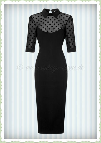 Collectif 50er Jahre Pin Up Rockabilly Pencil Kleid  - Wednesday - Schwarz