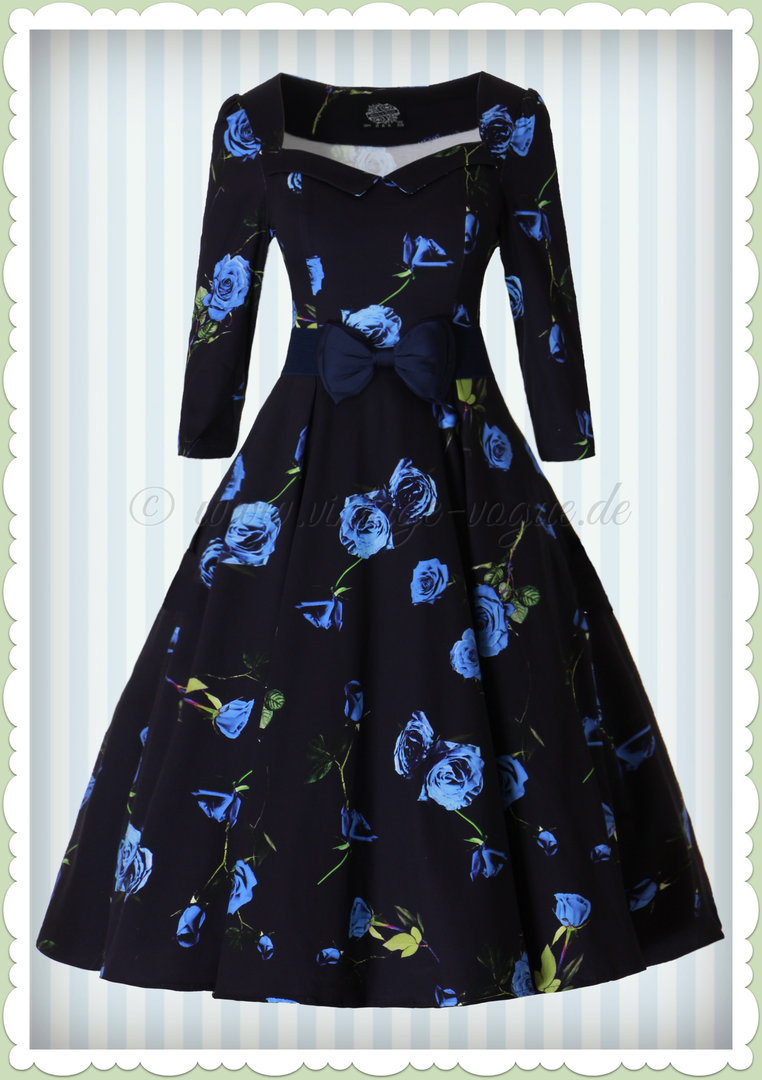 Hearts & Roses 50er Jahre Retro Petticoat Kleid - Blue Melody Dress - Navy