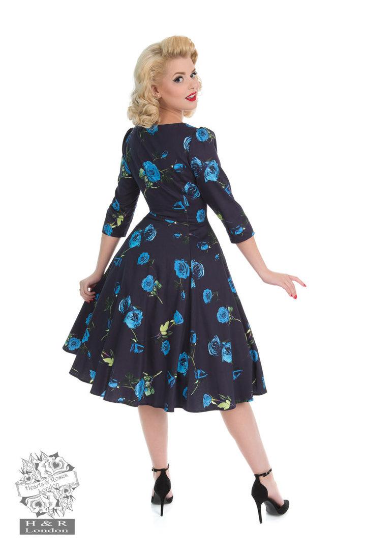 hearts roses 50er jahre retro petticoat kleid blue melody dress navy. Black Bedroom Furniture Sets. Home Design Ideas