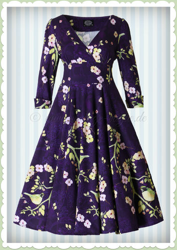 Hearts & Roses 50er Jahre Petticoat Kleid - Nightingale Bird Dress - Navy