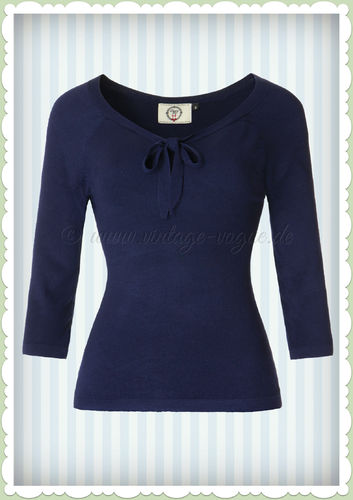 Banned 40er Jahre Retro Schluppen Jumper - Pretty Illusion - Blau