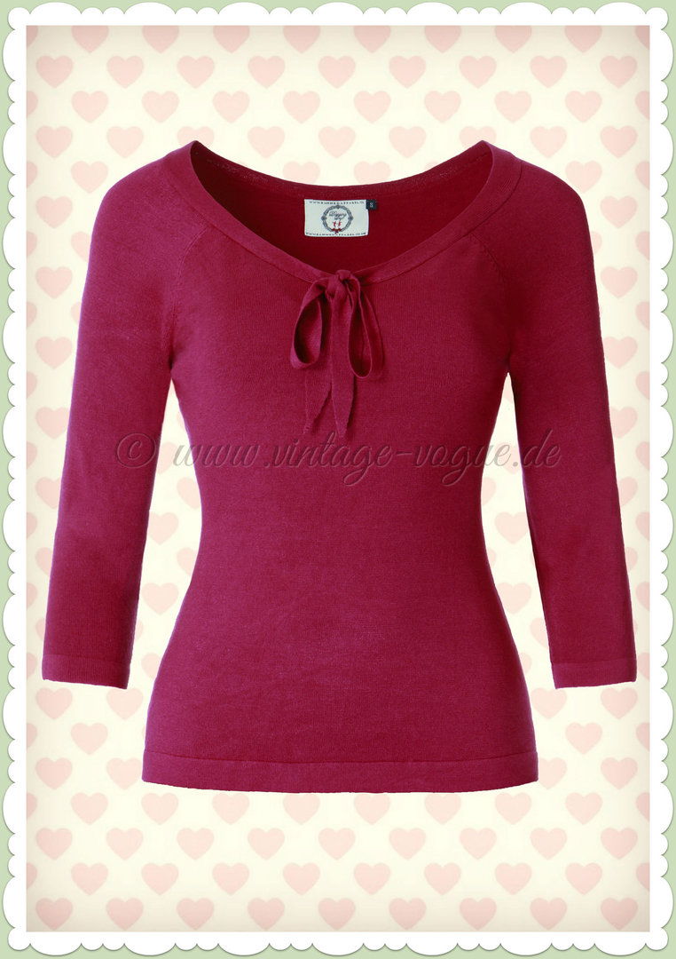 Banned 40er Jahre Retro Schluppen Jumper - Pretty Illusion - Weinrot