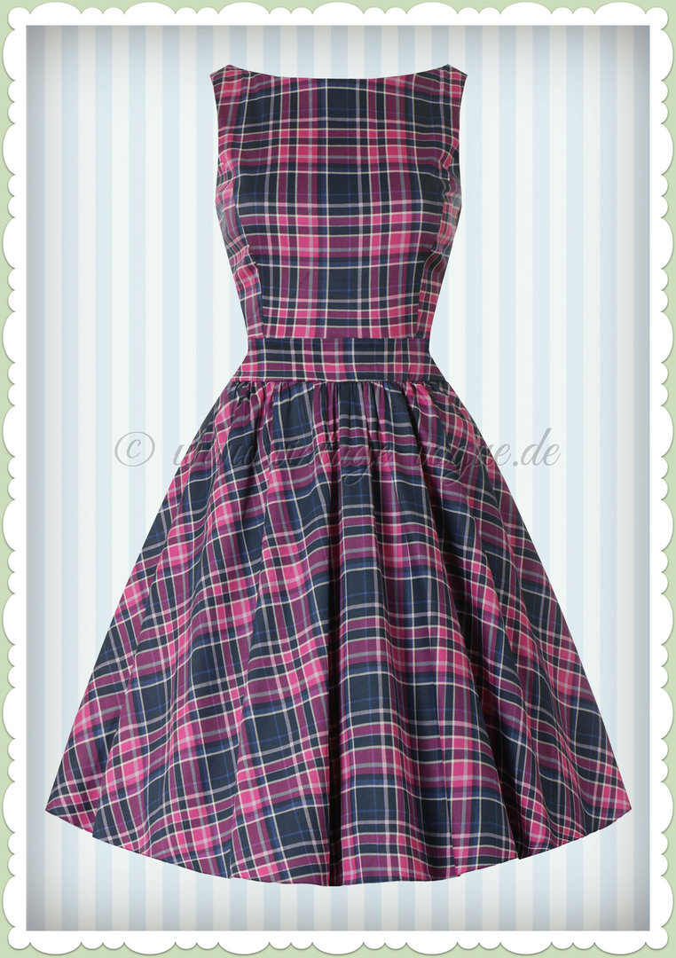 Lady Vintage 40er Jahre Retro Tartan Karo Kleid - Tea Dress - Blau Pink
