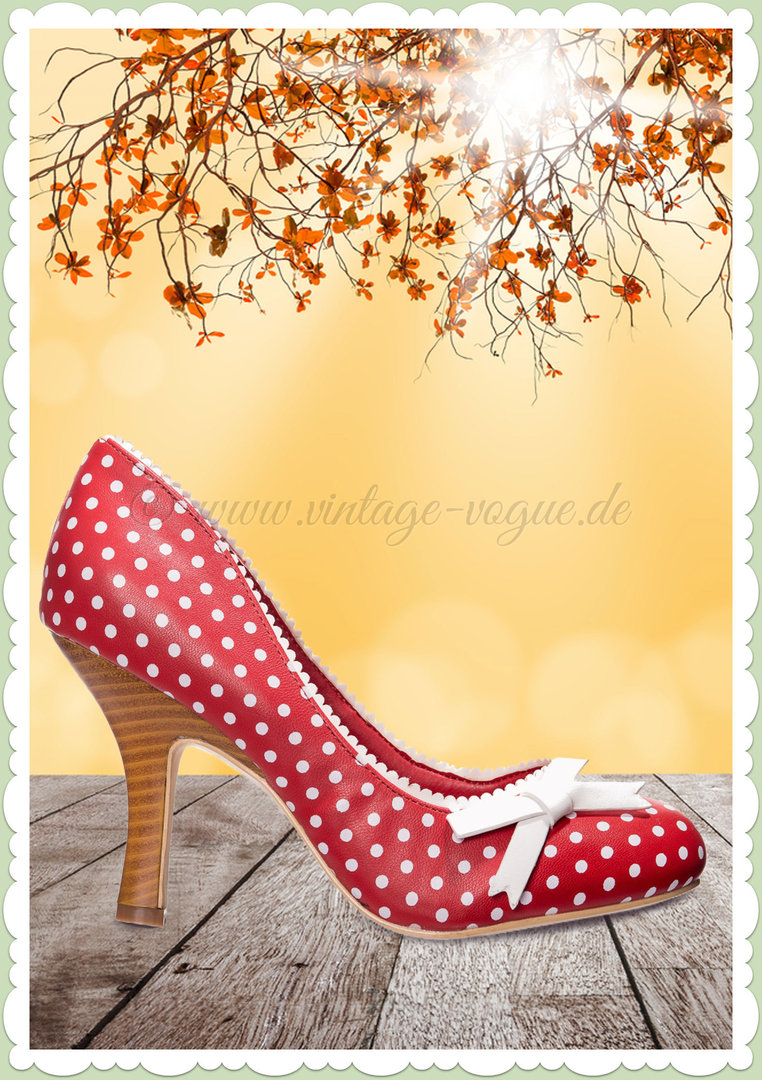 Banned 50er Jahre Retro Schuhe Punkte Pumps - String of Pearl - Rot Weiß