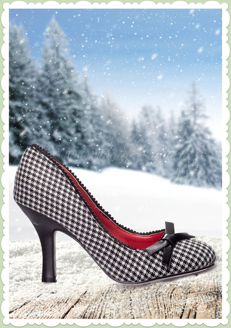 Banned 50er Jahre Retro Schuhe Dogtooth Pumps - String of Pearl - Schwarz