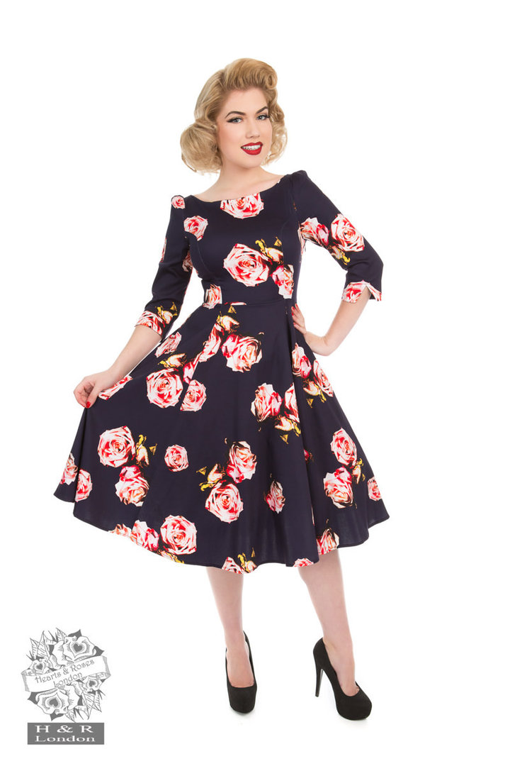 hearts roses 50er jahre retro petticoat kleid rosalina dress navy. Black Bedroom Furniture Sets. Home Design Ideas