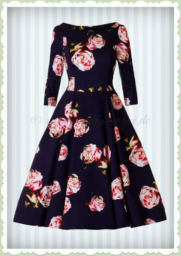 Hearts & Roses 50er Jahre Retro Petticoat Kleid - Rosalina Dress - Navy