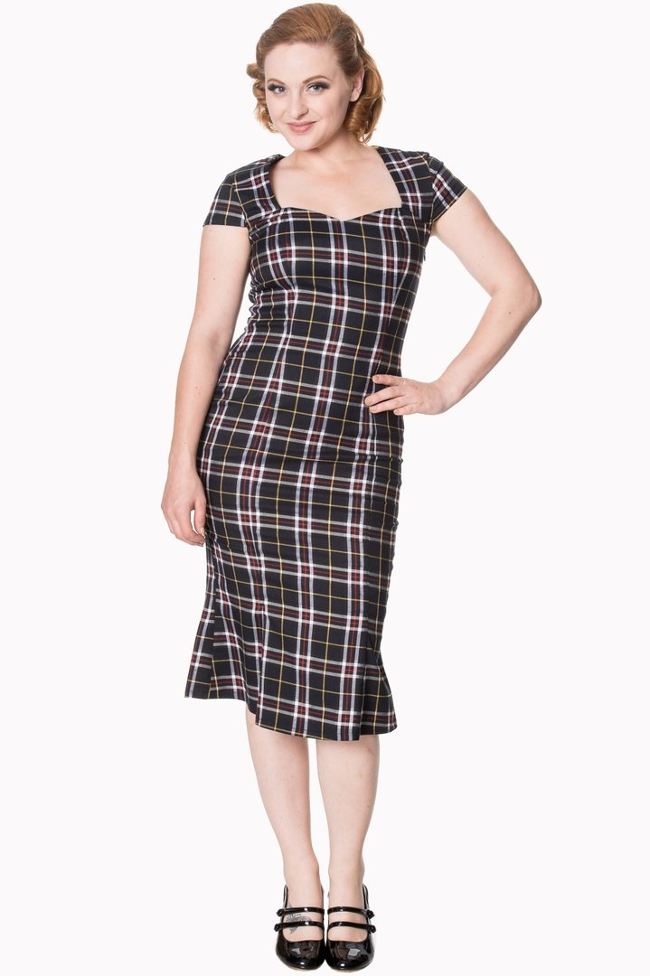 92be93dc48bd0d Banned 50er Jahre Retro Tartan Pencil Kleid - Poppy - Schwarz Rot Creme