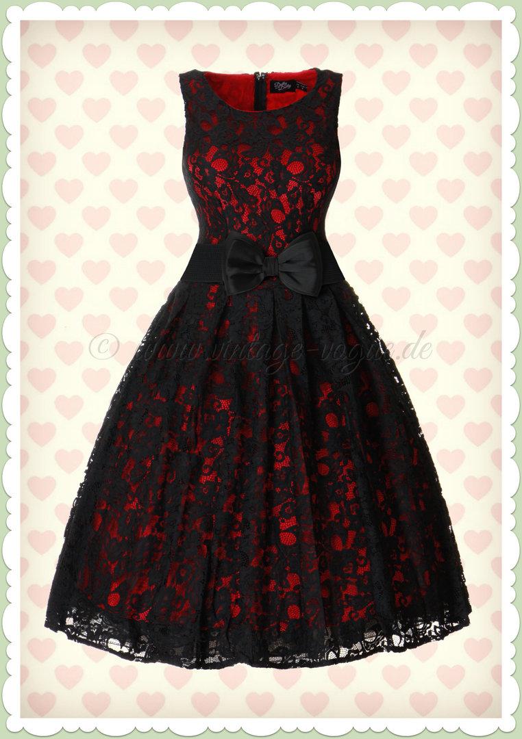 Dolly & Dotty 11er Jahre Retro Spitzen Petticoat Kleid - Annie - Schwarz Rot