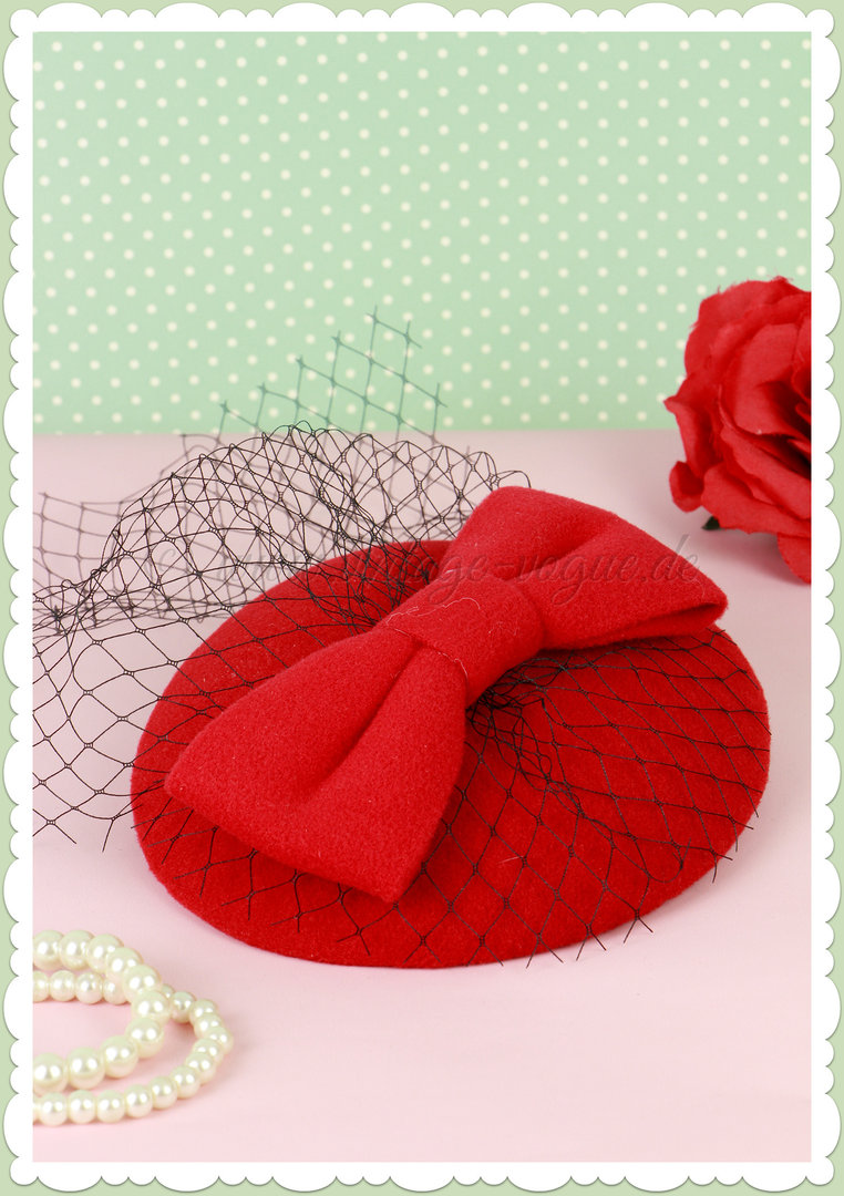 Banned 40er Jahre Retro Vintage Fascinator Hütchen - Candice - Rot