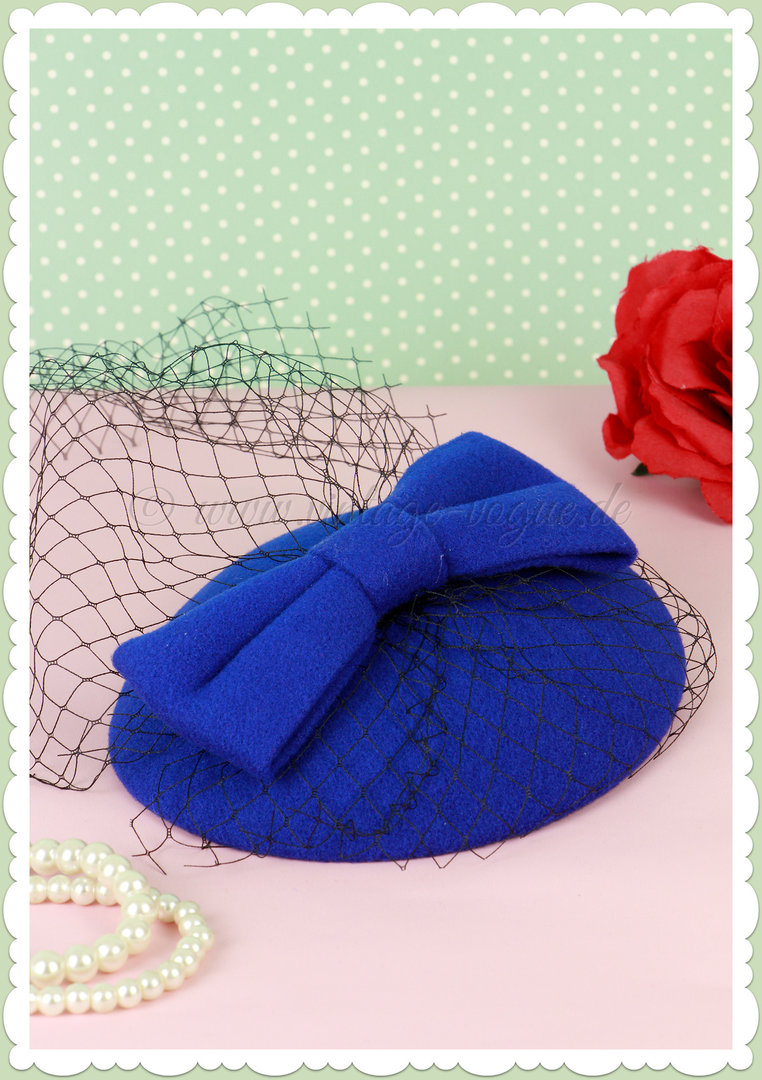 Banned 40er Jahre Retro Vintage Fascinator Hütchen - Candice - Royal Blau