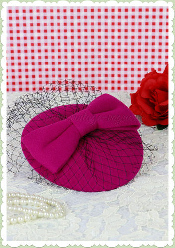 Banned 40er Jahre Retro Vintage Fascinator Hütchen - Candice - Pink