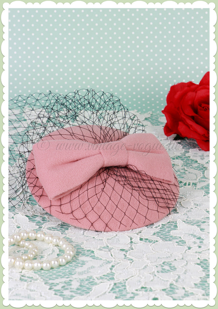 Banned 40er Jahre Retro Vintage Fascinator Hütchen - Candice - Rosa