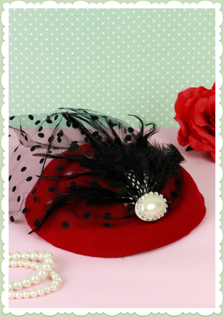 Banned 40er Jahre Retro Vintage Fascinator Hütchen - All a Dream - Weinrot