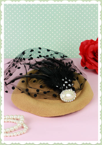 Banned 40er Jahre Retro Vintage Fascinator Hütchen - All a Dream - Beige