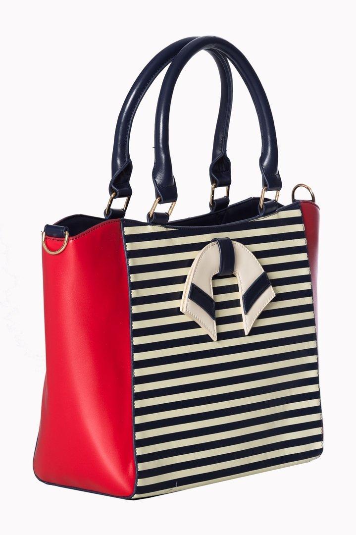 66ae64b254e8e Banned 50er Jahre Retro Streifen Handtasche - Vintage Nautical Bag - Rot