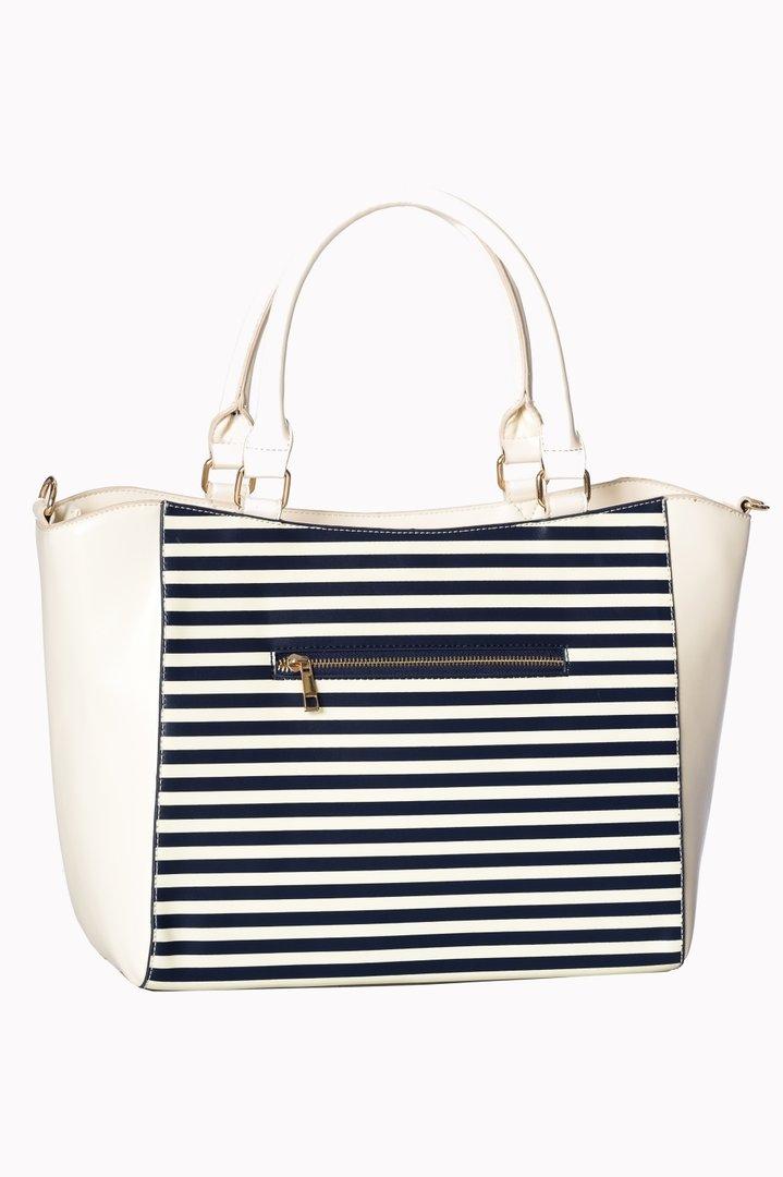 282b29e9d18b4 Banned 50er Jahre Retro Streifen Handtasche - Vintage Nautical Bag - Weiß
