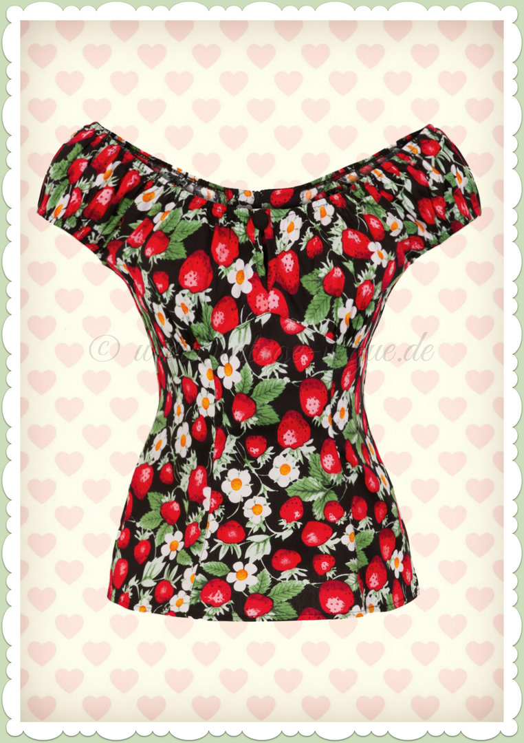 Hell Bunny 50er Jahre Retro Rockabilly Shirt - Strawberry Sundae - Schwarz