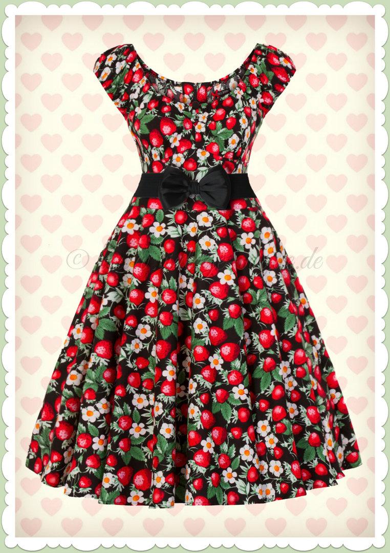 hell bunny 50er jahre retro petticoat kleid - strawberry sundae - schwarz