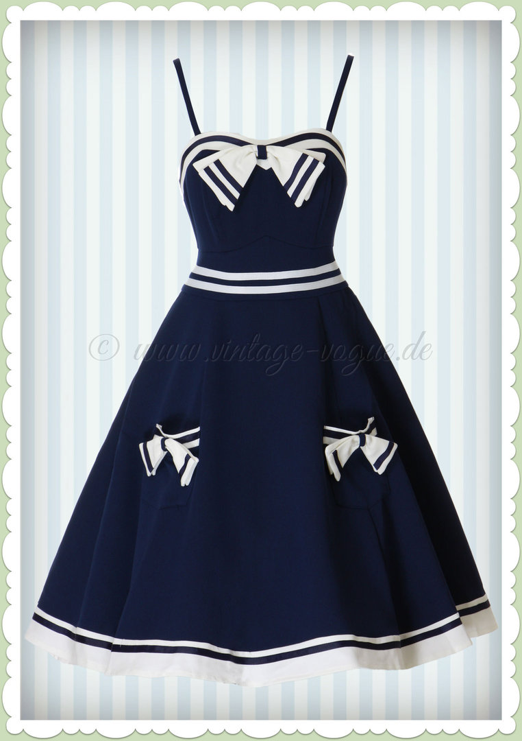 Banned 50er Jahre Maritimes Retro Kleid - Set Sail Strappy - Navy Blau