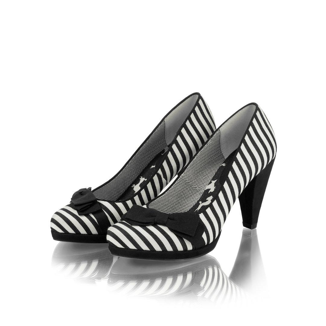ruby shoo 50er jahre retro schuhe streifen pumps susanna schwarz wei. Black Bedroom Furniture Sets. Home Design Ideas