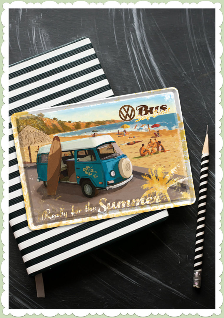"Nostalgic Art Retro Blechpostkarte ""VW Bulli - Ready for Summer"""