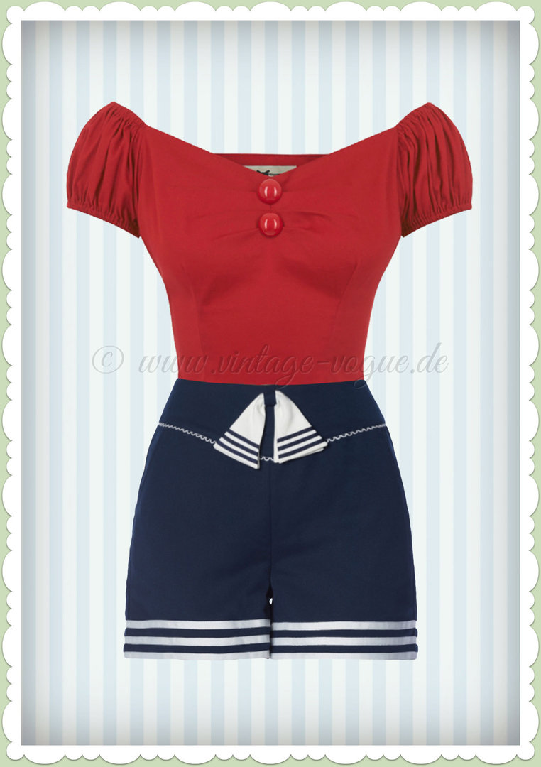Banned 50er Jahre Rockabilly Schleifen Shorts Hose - Set Sail - Navy Blau
