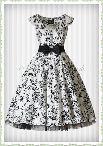 Hearts & Roses 50er Jahre Vintage Retro Petticoat Kleid - Wall Floral - Weiß