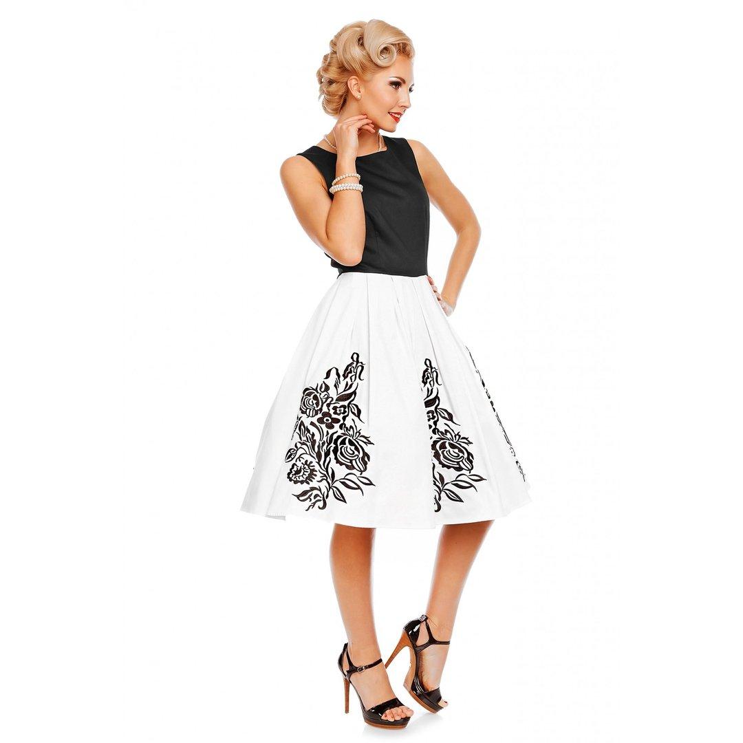 4b8e33c9eefa Dolly   Dotty 50er Jahre Retro Floral Petticoat Kleid - Annie - Schwarz Weiß