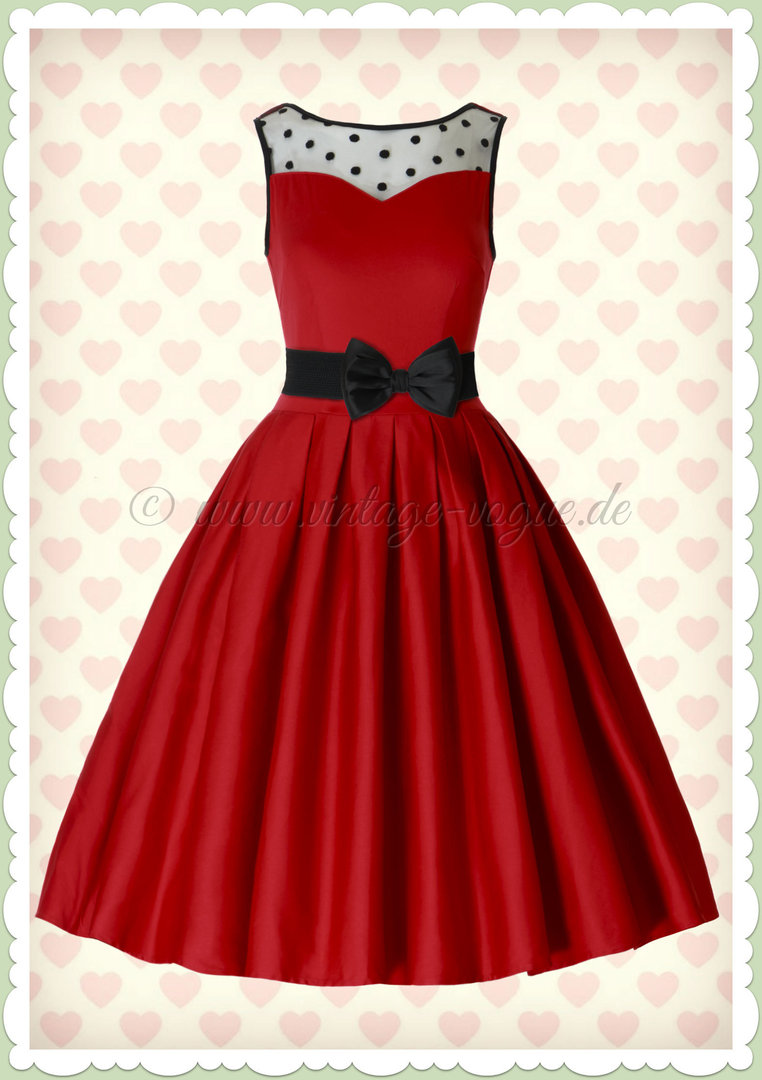 Dolly & Dotty 50er Jahre Retro Vintage Petticoat Kleid - Elisabeth - Rot