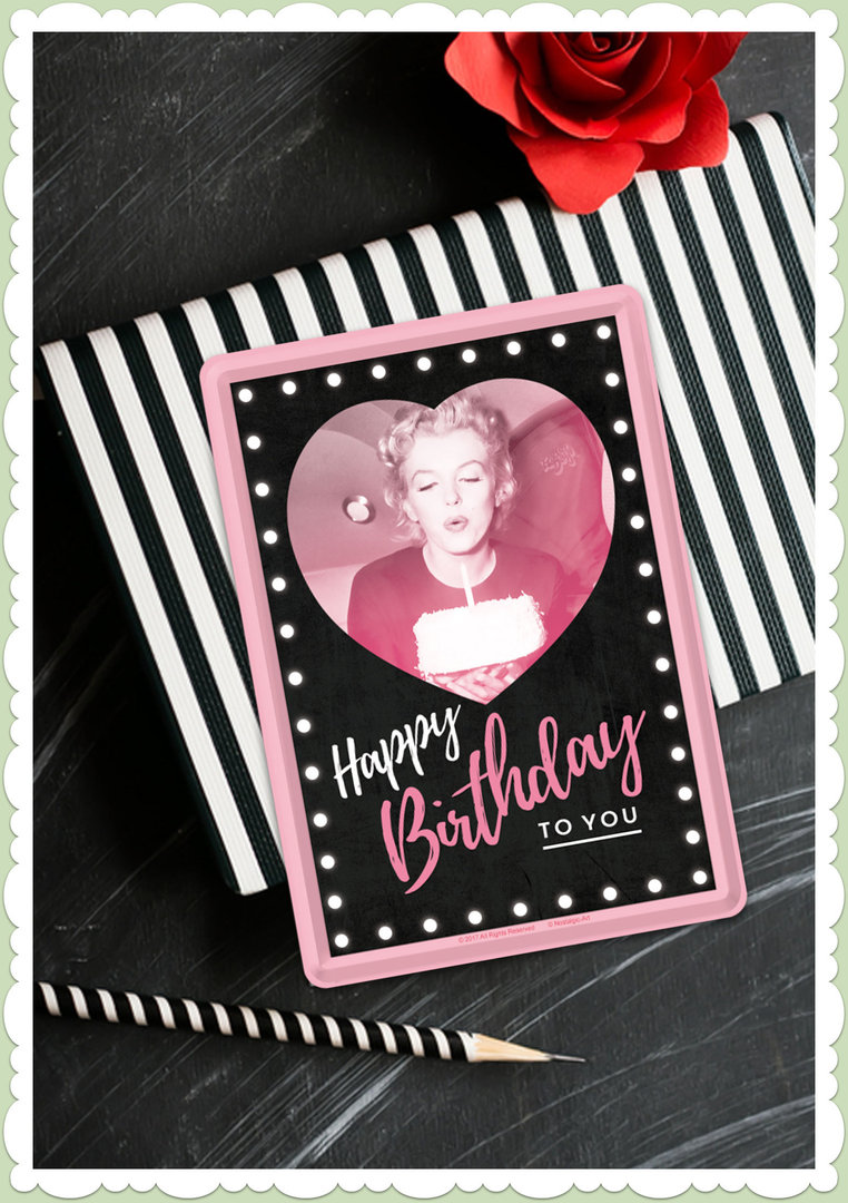 "Nostalgic Art Retro Celebrities Blechpostkarte ""Marilyn - Happy Birthday"""