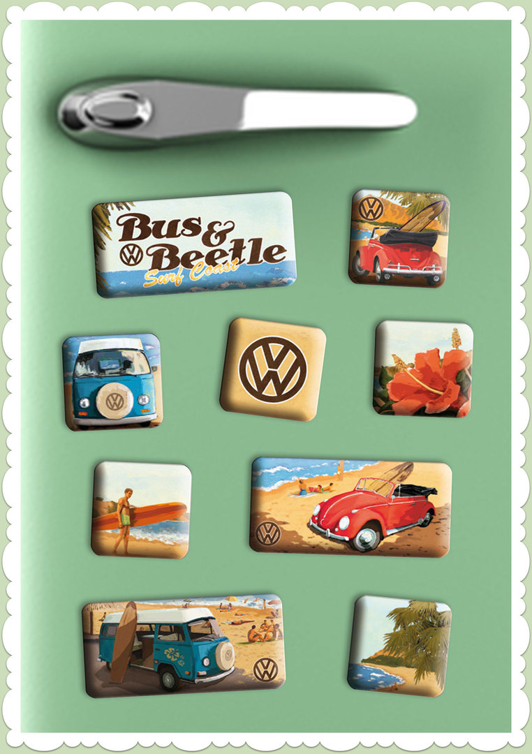 "Nostalgic Art Retro Vintage Magnet-Set ""VW Beach"""