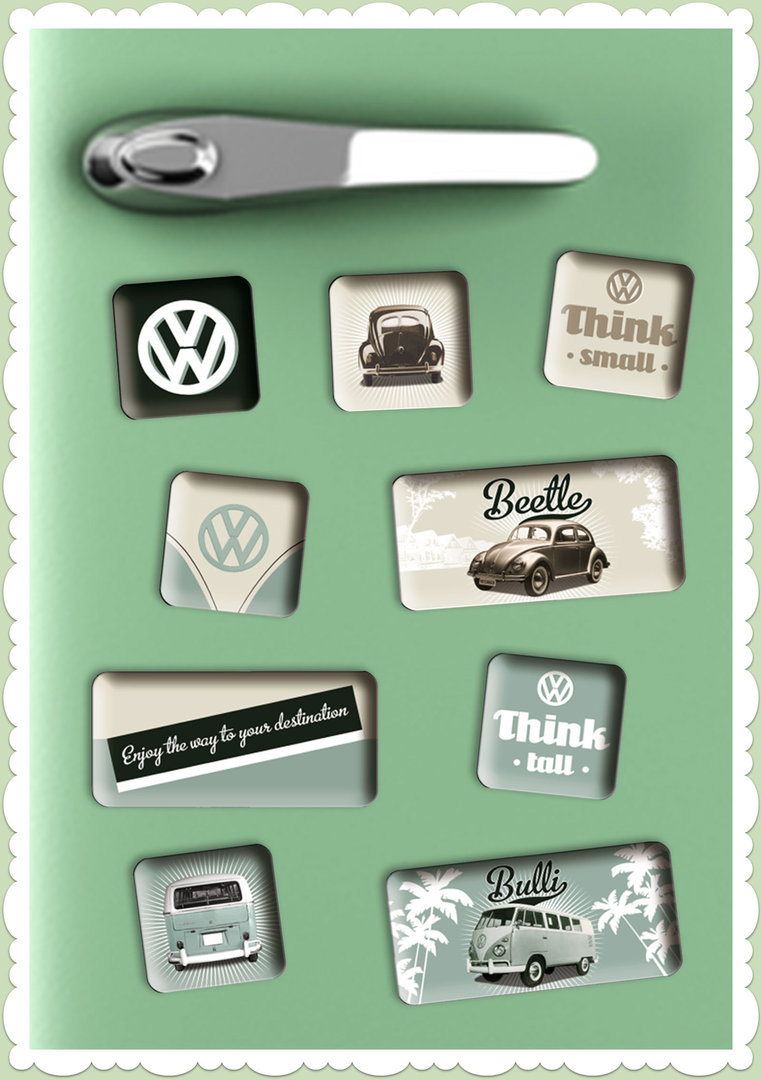 "Nostalgic Art Retro Vintage Magnet-Set ""VW Think Tall & Small"""