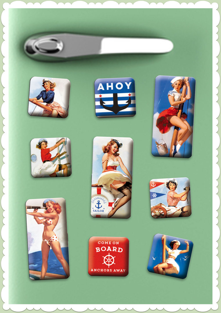 "Nostalgic Art Retro Vintage Magnet-Set ""Pin Up - Ahoy"""
