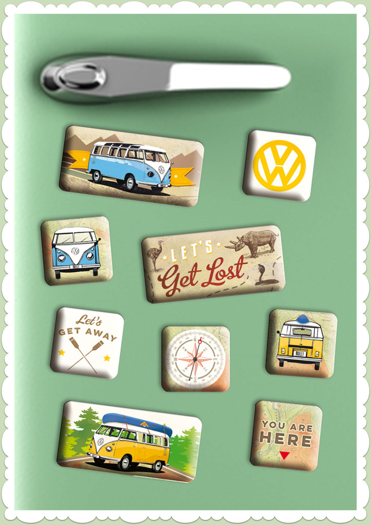 "Nostalgic Art Retro Vintage Magnet-Set ""VW Bulli - Let's Get Lost"""