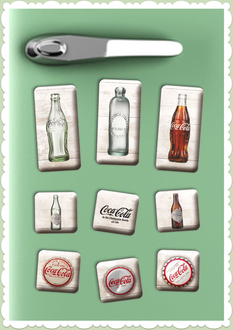 "Nostalgic Art Retro Vintage Magnet-Set ""Coca-Cola - Bottle Timeline"""