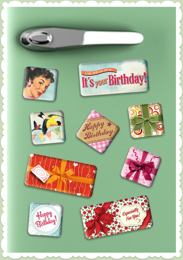 "Nostalgic Art Retro Vintage Magnet-Set ""Say It 50's - Happy Birthday"""