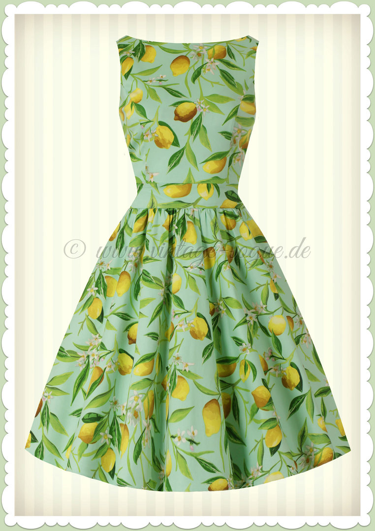 Lady Vintage 40er Jahre Vintage Retro Lemon Kleid - Tea Dress - Mint Grün