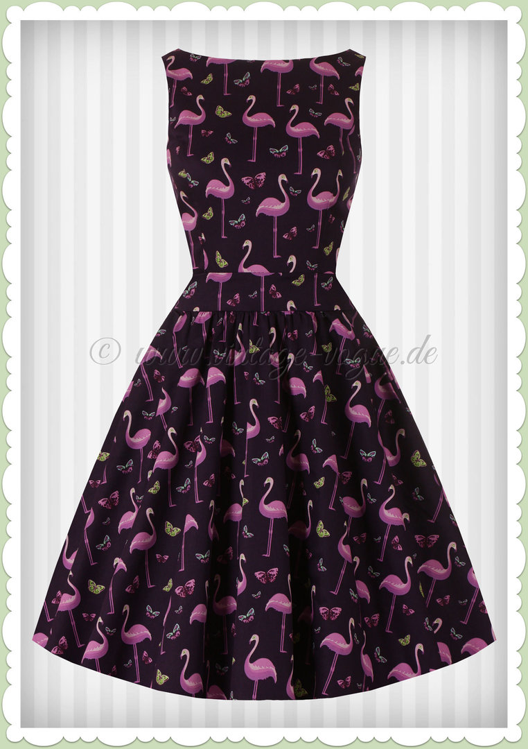 Lady Vintage 40er Jahre Retro Flamingo Kleid - Tea Dress - Violett