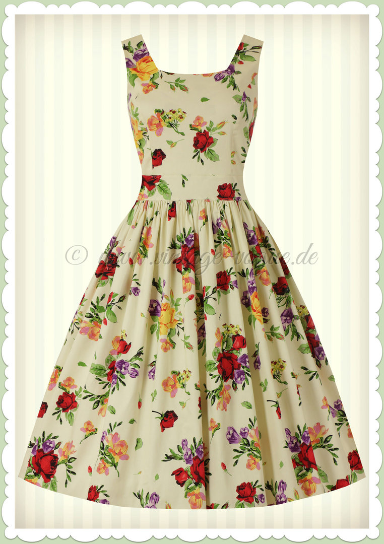 Lady Vintage 40er Jahre Vintage Retro Blumen Kleid ...