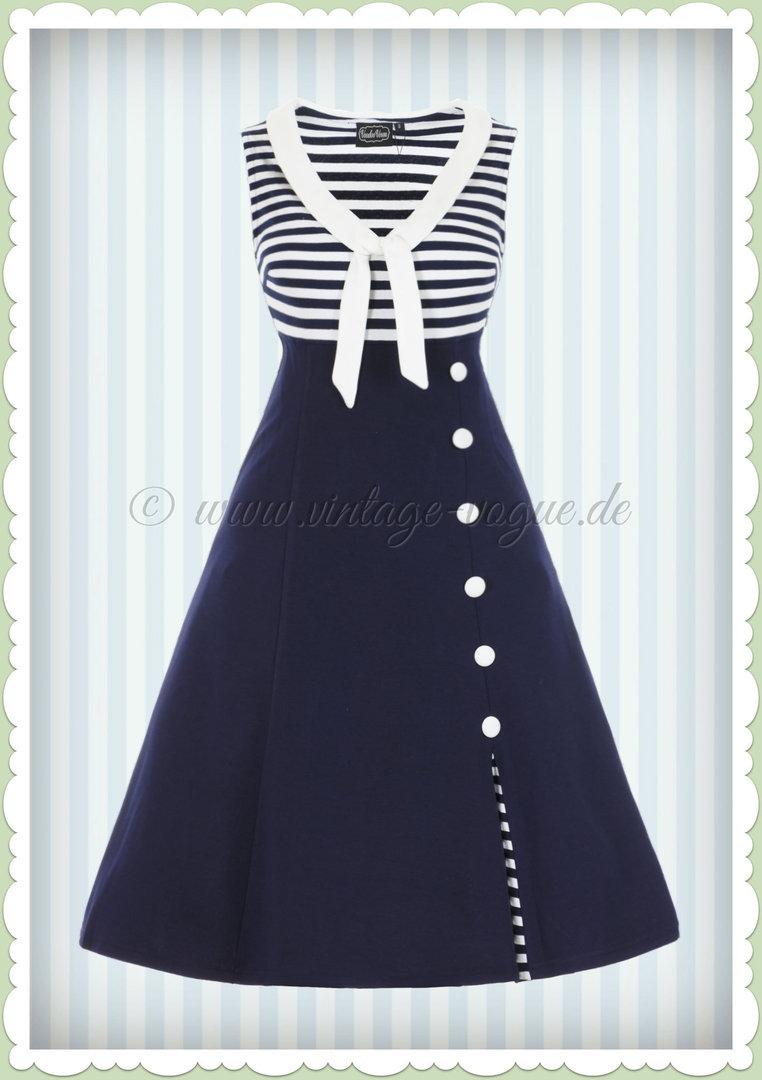 Blaues kleid mit weiben streifen