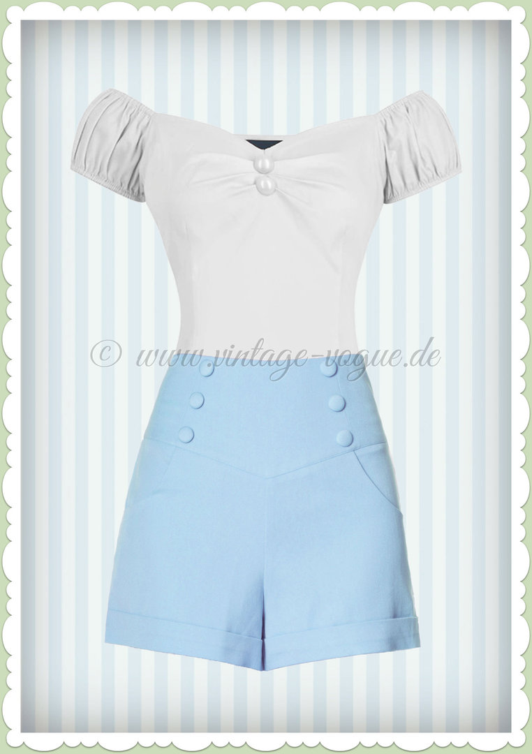 Banned 50er Jahre Retro Sailor Shorts Hose - Cute As A Button - Baby Blau