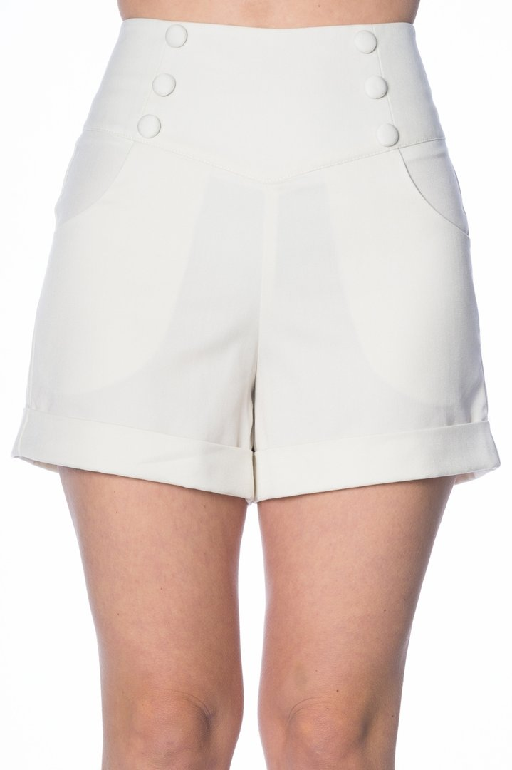 6407157fff46fc Banned 50er Jahre Retro Sailor Shorts Hose - Cute As A Button - Weiß