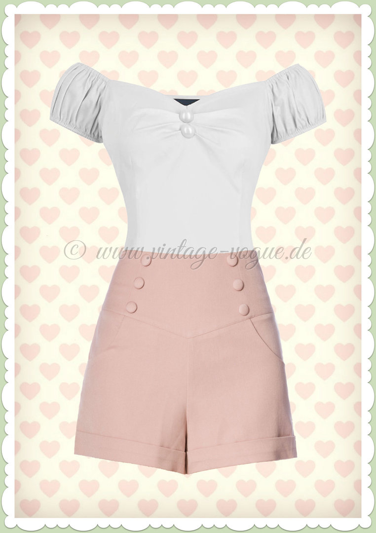 Banned 50er Jahre Retro Sailor Shorts Hose - Cute As A Button - Rosa
