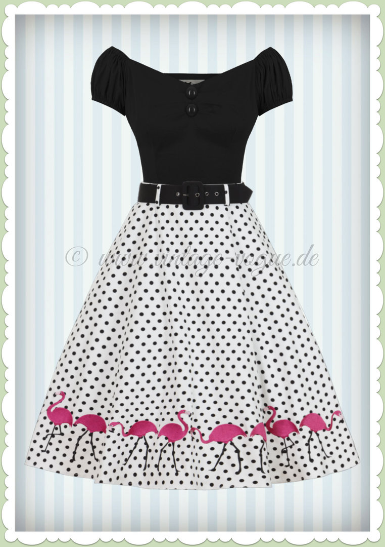 Collectif 40er Jahre Vintage Flamingo Punkte Swing Rock - Fancy - Weiß