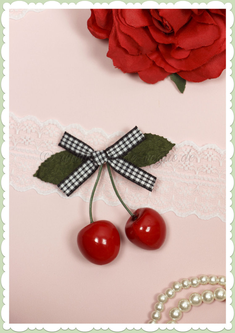 Banned 50s Pin Up Rockabilly Retro Kirschen Gingham Haarclip - Schwarz