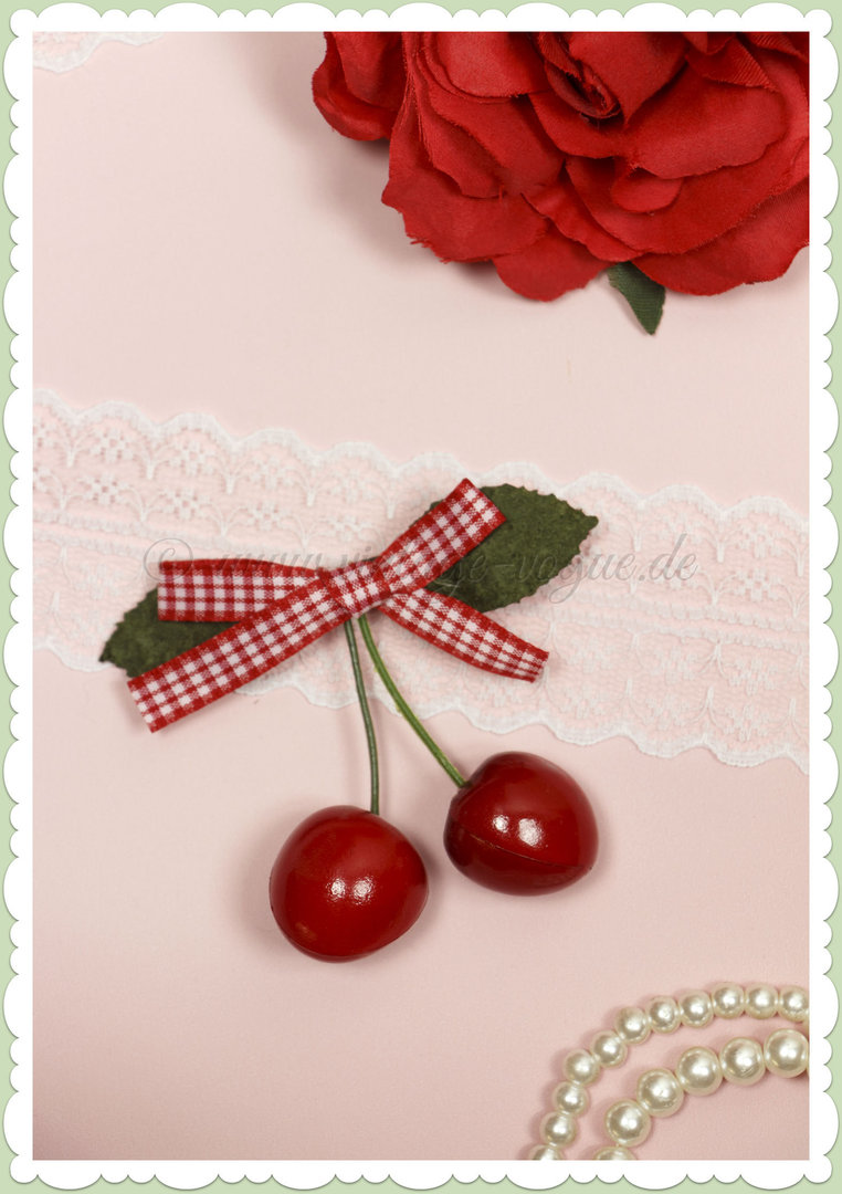 Banned 50s Pin Up Rockabilly Retro Kirschen Gingham Haarclip - Rot Weiß